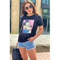 LUREX Хлопковая футболка женская с принтом Микки и надписью  - черный цвет, S