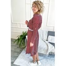 Aiyizu Стильное платье рубашка миди в полоску с поясом - красный цвет, S