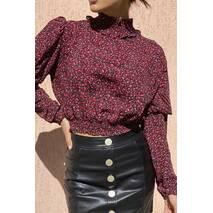 Crep Укороченная блузка с эластичным воротником-стойкой - красный цвет, L