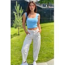 Busem Базовые джинсы слоучи из текстурного денима  - молочный цвет, 42р