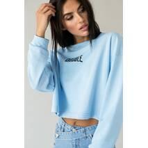 LUREX Стильный укороченный свитшот с надписью - голубой цвет, L