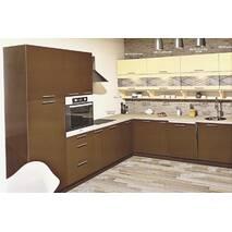 Большая угловая кухня Эко под заказ бежево-коричневая