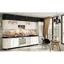 Кухня Хай тек с глянцевыми мдф фасадами бело-черными