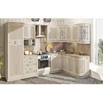 Угловая кухня Кантри с винтажными рисунками