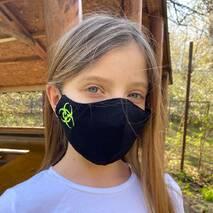 """Підліткова захисна маска для обличчя """"Quarantine""""  чорно-зелена"""