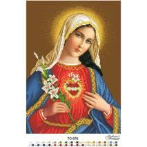 Схема для вышивки бисером Барвиста Вышиванка Икона Открытое Сердце Марии 31х43 (ТО076ан3143)