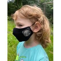 """Дитяча захисна маска для особи """"Панда""""  чорна"""