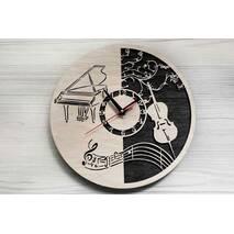 Дизайнерський настінний дерев'яний годинникMusic