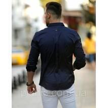 Рубашка мужская офисная приталенная длинный рукав. Турция S, M, L, XL, XXL Молодежная турецкая рубашка. Синяя