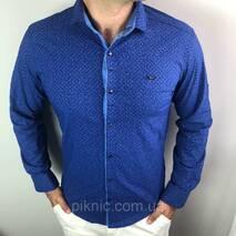Рубашка мужская S,M,XXL длинный рукав. Турция. Молодежная турецкая рубашка трансформер. Синий M