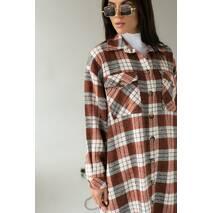 Clew Довга жіноча сорочка оверсайз - теракотовий колір, S