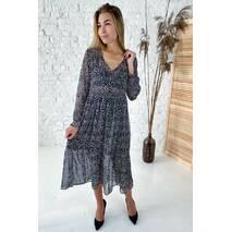 Clew Шифонова сукня миди принт дрібний горох  - чорний колір, S
