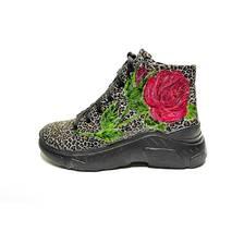 Ботинки молодежные кожаные с принтом и ручной росписью, 40, 102-19.04