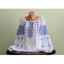 вышитая рубашка женская с голубым узором