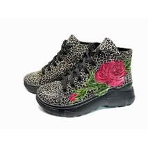 Ботинки молодежные кожаные с принтом и ручной росписью, 38, 102-19.04