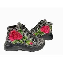 Ботинки молодежные кожаные с принтом и ручной росписью, 36, 102-19.04