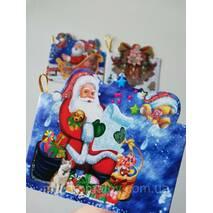№5  Міні листівка  для підпису подарунків з глиттером  МІКС забарвлень, 95*85 мм (150 шт в упаковці)