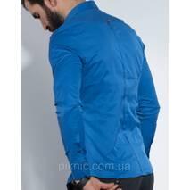 Рубашка мужская приталенная, длинный рукав S, M, L, XL, XXL Турция  Молодежная турецкая рубашка. Синяя