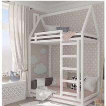 """Ліжко двох'ярусне """"Будиночок класик"""" з бортом (колір будь-який)"""