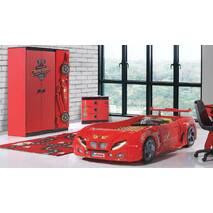 Детская Кровать машина F1 (красная) с подсветкой и пластиковым корпусом Турецкая