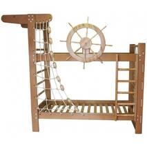"""Двох'ярусне ліжко """"Пірат"""" з ясена з штурвалом, що крутиться"""