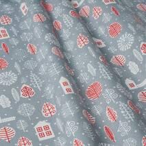 Декоративная ткань для штор, салфеток, подушек, скатертей зимний принт на сером фоне