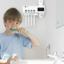 Розумний Утримувач Зубних Щіток   Дозатор Зубної Пасти Диспенсер з УФ-Стерилизатором PURETTA ToothBrush Sterilizer Original (3 в 1)
