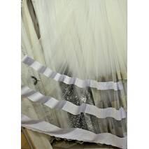 Тюль полоска фатин цвет белый с голубинкой