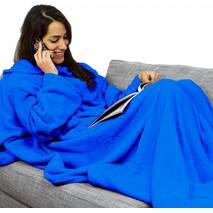 Плед Одеяло с Рукавами Snuggie Original (Синий) 190 х 140 см Теплый Домашний Халат Флисовый