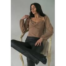 LUREX Вишукана жіноча блуза з довгими рукавами-ліхтариками - кавовий колір, M