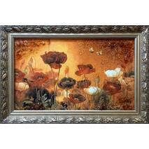 """Картина із бурштину """"Маки"""" 30х60 см"""