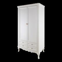 Біла гардеробна шафа на фігурних ніжках Амальтея з масиву дерева