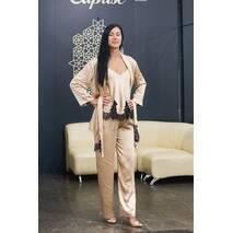 Женский костюм Dobra Rich халат с топом и брюками золотистый с итальянским кружевом шантильи S (005SAG 0014GSMaxMin)