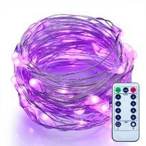 Светодиодная гирлянда LTL нить капля росы 100 led, 10 метров c пультом фиолетовая Purple, батарейки (003SAG 0177)
