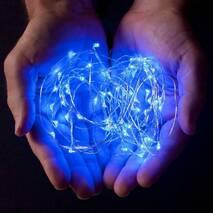 Светодиодная гирлянда нить LTL 10м 100led на батарейках голубая Blue (003SAG 0020)
