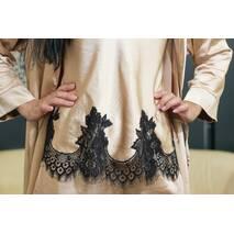Женский костюм Dobra Rich халат с топом и брюками золотистый с итальянским кружевом шантильи 3XL (005SAG 0014G3XLMaxMin)