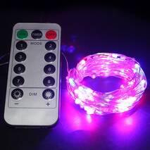 Светодиодная гирлянда LTL нить капля росы 100 led, 10 метров c пультом розовая Pink, батарейки (003SAG 0228)