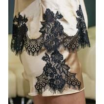 Пижама Dobra Rich топ с шортами золотистая с итальянским кружевом шантильи M (005SAG 0015GMMin)