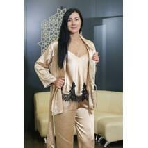 Женский костюм Dobra Rich халат с топом и брюками золотистый с итальянским кружевом шантильи 4XL (005SAG 0014G4XLMaxMin)