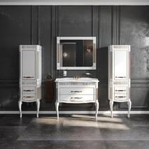 Зеркало Роял белый цвет 100 см патина золото Аква Родос купить в Днепре