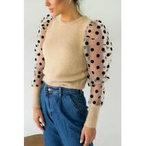 LUREX Ангоровый джемпер з рукавами з органзы - кавовий колір, M