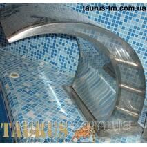 Водопад в бассейн Classic (массажер для плеч и спины) из полированной нержавеющей стали. Производство TAURUS 500