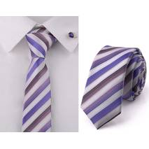 STK Краватка біла у фіолетову смужку