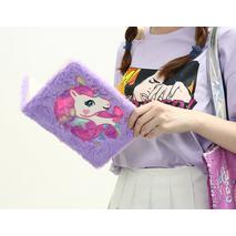 STK Пушистый блокнот с единорогом  фиолетовый, А5