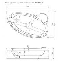 Ванна акрилова Swan Adele 170x110 асиметрична права