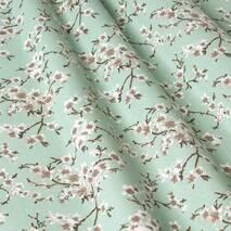 Ткань для штор цветы сакура мятный цвет в спальную, зал