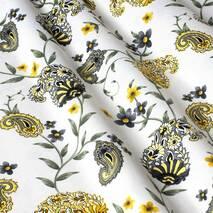 Ткань для штор огурцы на белом фоне в спальную, детскую с тефлоном