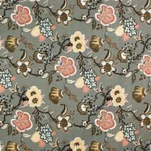 Ткань для штор цветы на сером фоне в спальную, детскую с тефлоном