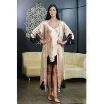 Ночная рубашка с длинным халатом Dobra Rich золотистый с итальянским кружевом шантильи L (005SAG 0013GLMinMax)