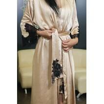 Ночная рубашка с длинным халатом Dobra Rich золотистый с итальянским кружевом шантильи 3XL (005SAG 0013G3XLMinMax)